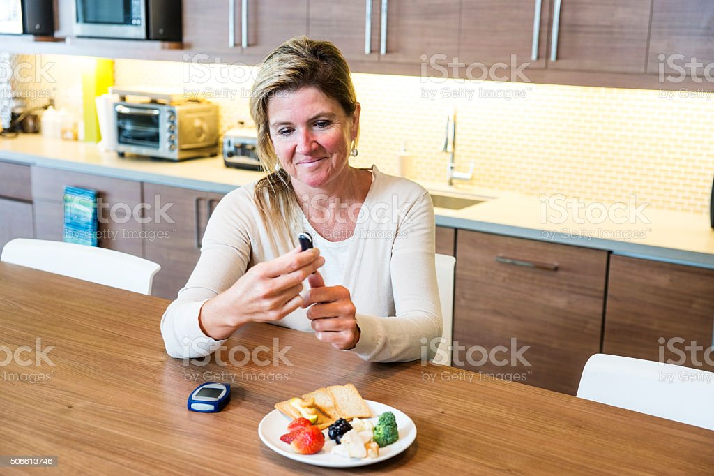 Blood test for monitoring diabetes stock photo