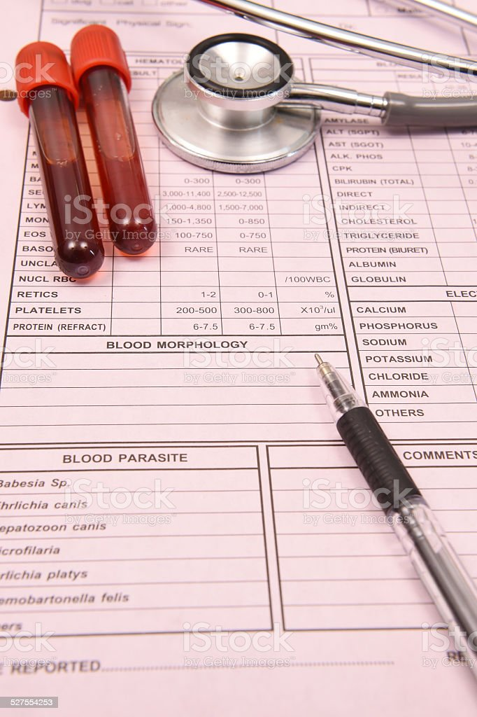 Blood test tube and  stethoscope with pen stock photo