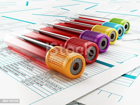 istock Blood test tubes with multi-colored lids standing on medical documents 668185506