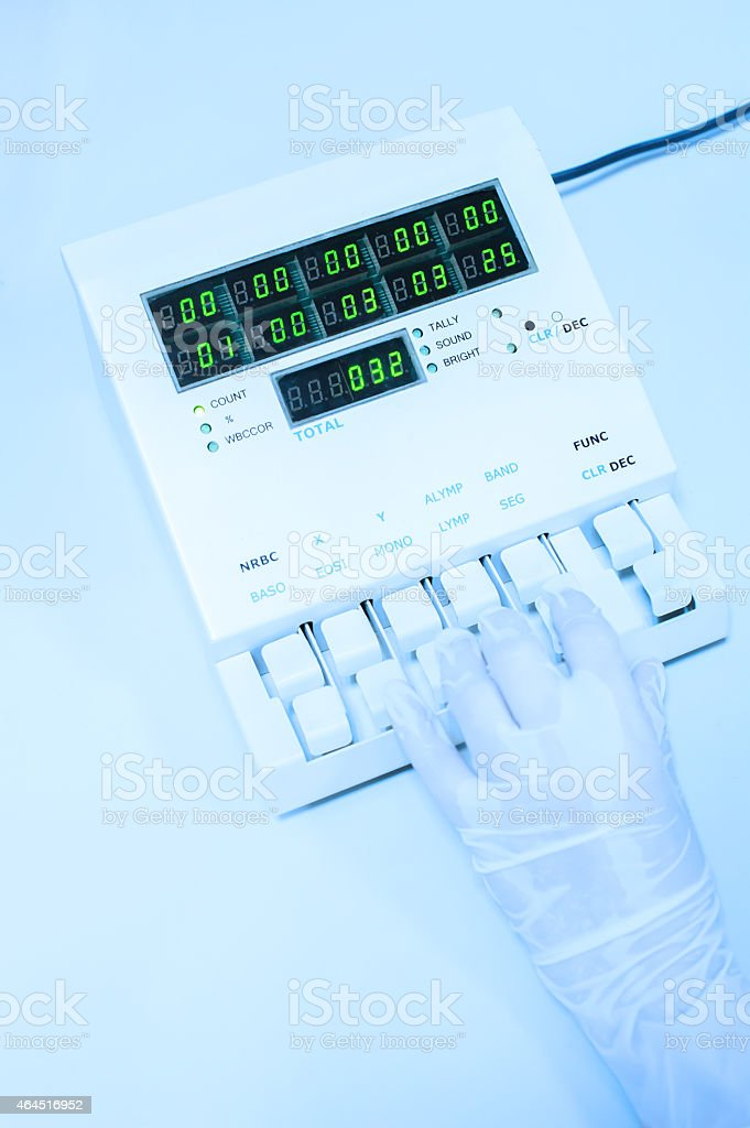 blood testing machine in laboratory stock photo