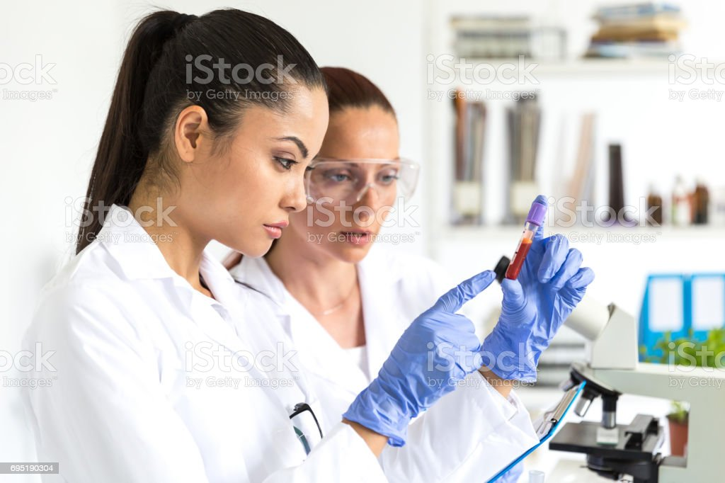 Blood tests in laboratory stock photo