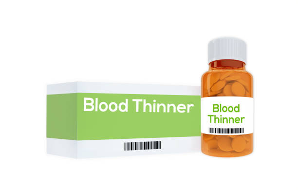 Blood Thinner concept Render illustration of Blood Thinner title on pill bottle, isolated on white. anticoagulant stock pictures, royalty-free photos & images