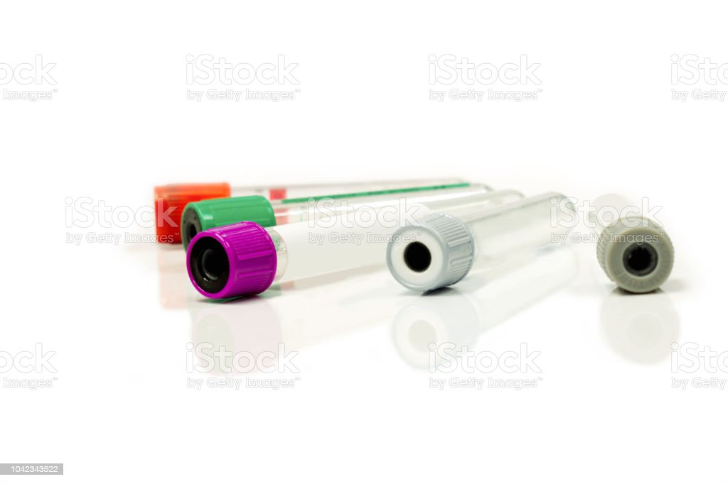 blood tubes for keep and safe blood collection to checkup glucose and all virus stock photo