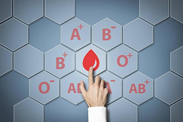 blood type / touch screen concept (click for more) - anemia foto e immagini stock