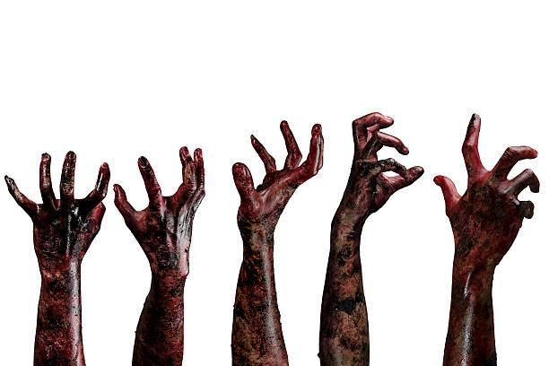 血液ゾンビー手、ゾンビーテーマ、ハロウィーンのテーマ ストックフォト