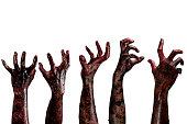 血液ゾンビー手、ゾンビーテーマ、ハロウィーンのテーマ