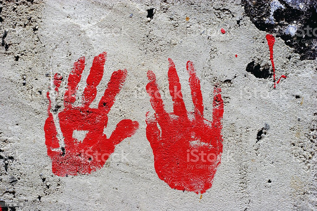 Blood?Caught redhanded #3 royalty-free stock photo