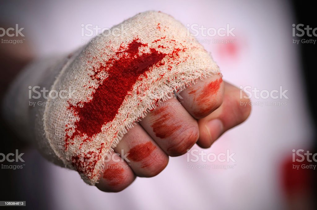Bloodied Fist stock photo