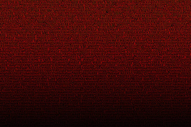 a blood-red background consisting of terms on the topic of computer technology, computer viruses, and cyber attacks. - vr red background imagens e fotografias de stock