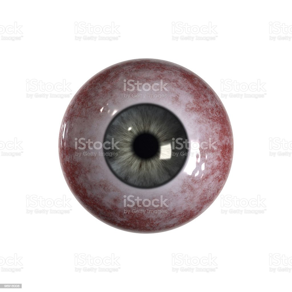 Bloodshot green blue Eyeball stock photo
