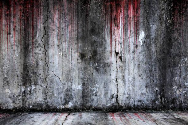 krwawe tło przerażające stare ściany cementowe i podłogi - horror zdjęcia i obrazy z banku zdjęć