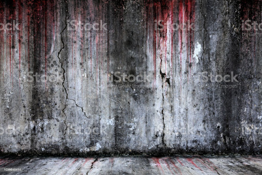 Bloody background scary old cement wall and floor stock photo