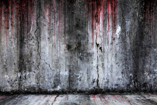 bloody background scary old cement wall and floor - horror stock pictures, royalty-free photos & images