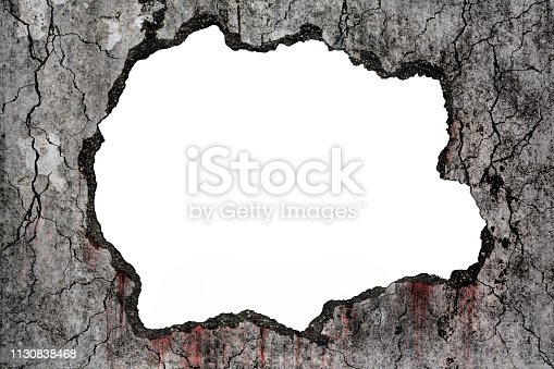 istock Bloody background scary on damaged grungy crack and broken concrete wall on white, concept of horror and Halloween 1130838468