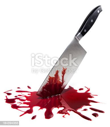 This is a photo of a butcher knife surrounded by fake blood.Click on the links below to view lightboxes.