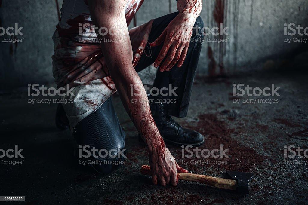 Bloody clown-maniac with ax - foto de acervo
