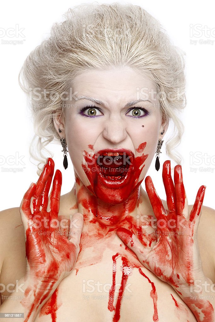 Bloody crying woman royalty-free stock photo