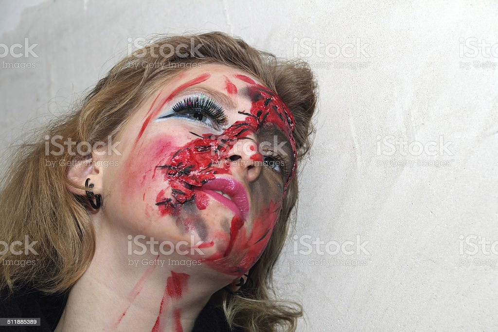 bloody face stock photo