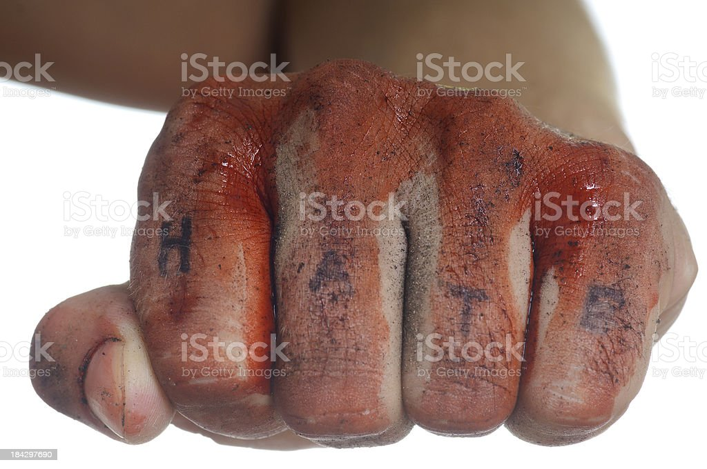 Bloody Fist with Word Hate royalty-free stock photo