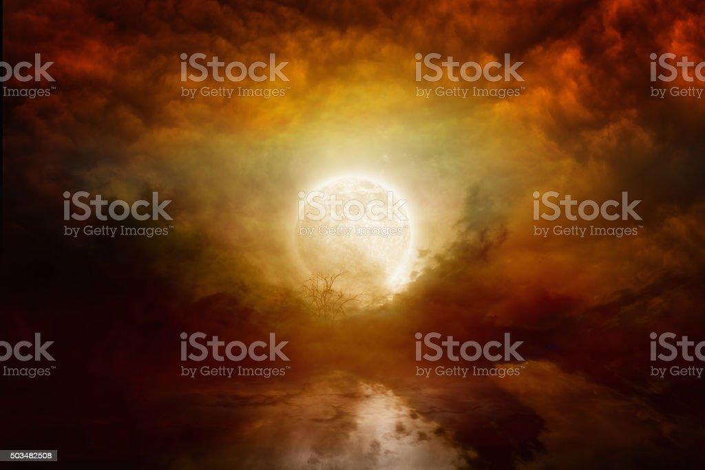 Bloody full moon stock photo
