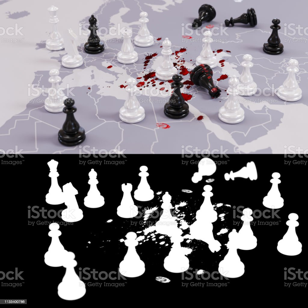 Bloody geopolitical chess game stock photo