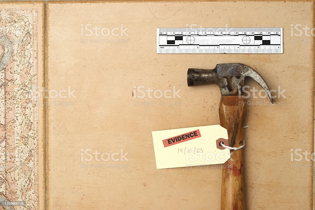 CSI: Bloody hammer royalty-free stock photo