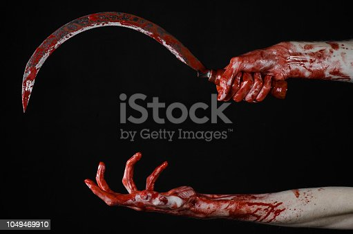 bloody hand holding a sickle, sickle bloody, bloody scythe, bloody theme, halloween theme, black background, isolated, killer, psycho, thug, a bloody knife, bloody hands of zombies, cutthroat