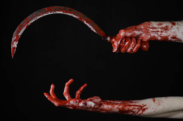 bloody hand holding a sickle, sickle bloody, bloody scythe, bloody theme, halloween theme, black background, isolated, killer, psycho, thug, a bloody knife, bloody hands of zombies, cutthroat bloody hand holding a sickle, sickle bloody, bloody scythe, bloody theme, halloween theme, black background, isolated, killer, psycho, thug, a bloody knife, bloody hands of zombies, cutthroat cutthroat stock pictures, royalty-free photos & images