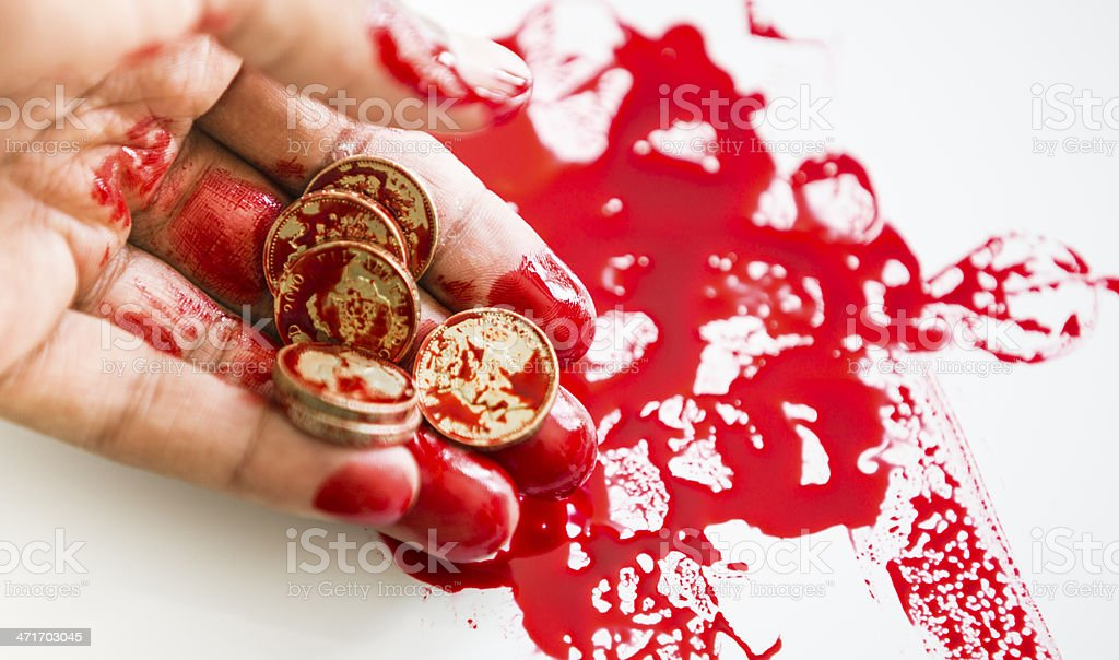 Bloody hand money stock photo