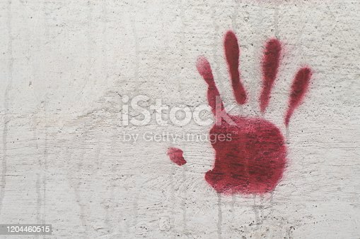 535193210 istock photo Bloody handprint on the wall. Concept of fear, horror 1204460515
