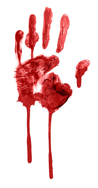 bloody handprint stock photo