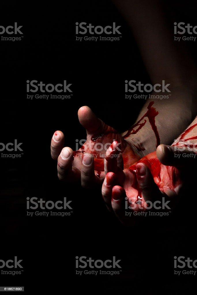 Bloody Hands Darkness stock photo