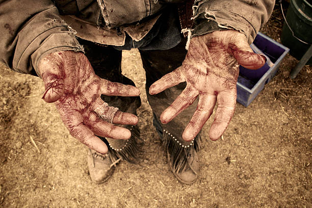 bloody hands-sepia - rough stock photos and pictures
