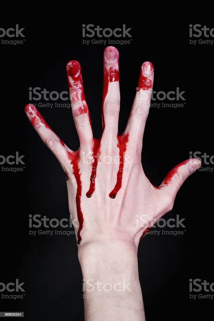 bloody human hand on black background royalty-free stock photo
