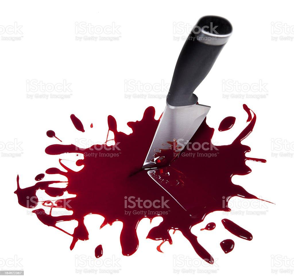Bloody Kitchen Knife on White stock photo