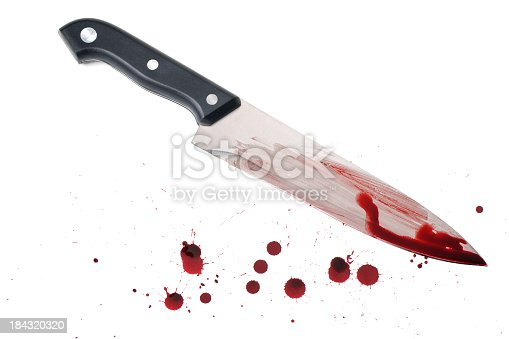 A large kitchen knife (new) with blood on the tip and smeared over the blade with blood drips. Isolated on white.