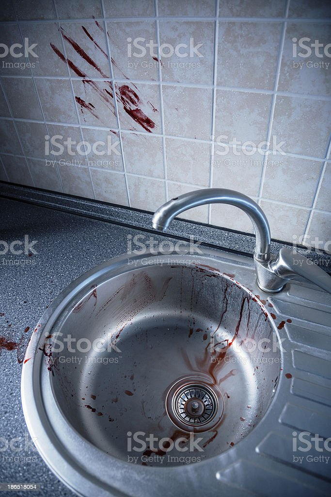 Bloody kitchen tile and washbasin royalty-free stock photo