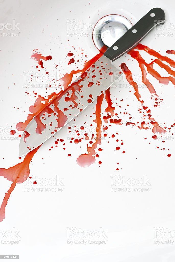 Bloody knife in a sink royalty-free stock photo