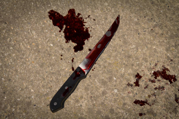 bloody knife on the floor - knife wound stock photos and pictures
