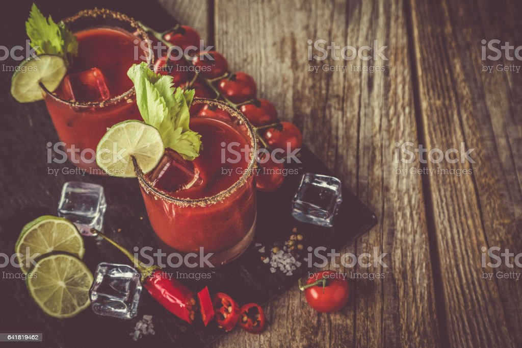 Bloody mary cocktail and ingredients stock photo