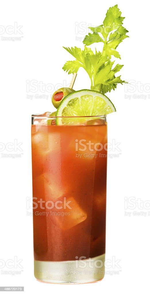 Bloody Mary Cocktail Isolated on White Background stock photo