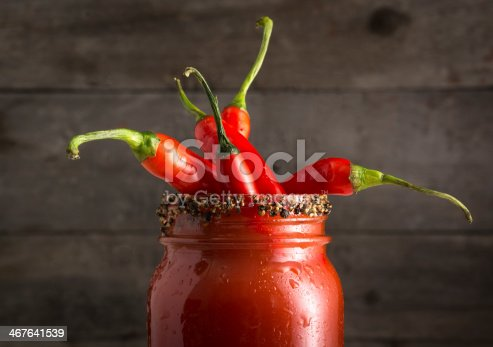 istock Bloody Mary Cocktail with Red Jalapeno Peppers 467641539