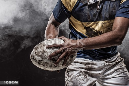 istock A bloody muddy Rugby Player 1145693076