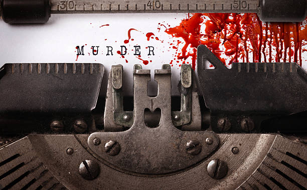 bloody note - vintage inscription made by old typewriter - 殺 個照片及圖片檔