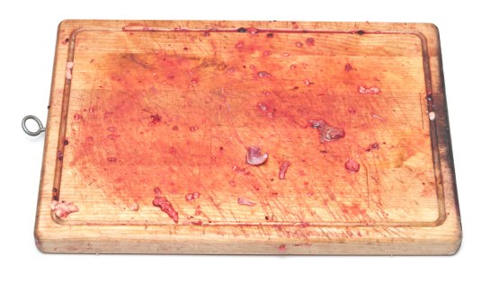 Bloody On The Cutting Board Stock Photo - Download Image Now
