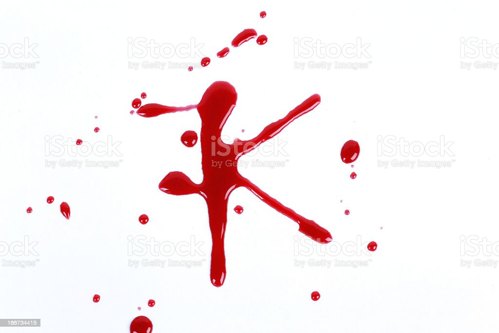 Bloody print on a white background with the letters K royalty-free stock photo