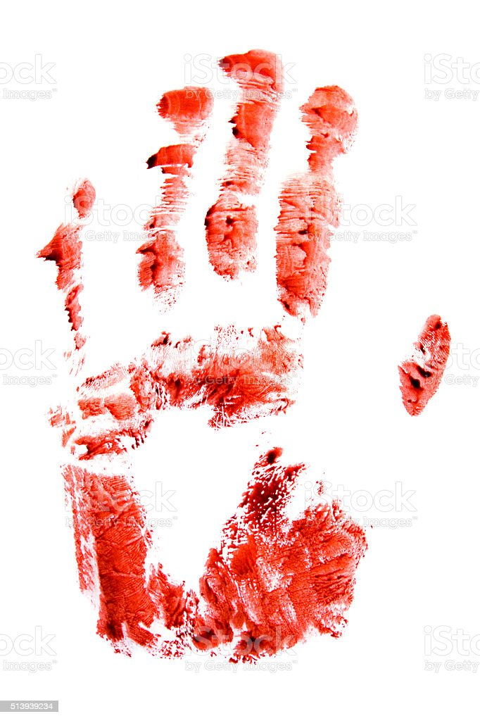 Bloody red hand and fingers print stock photo