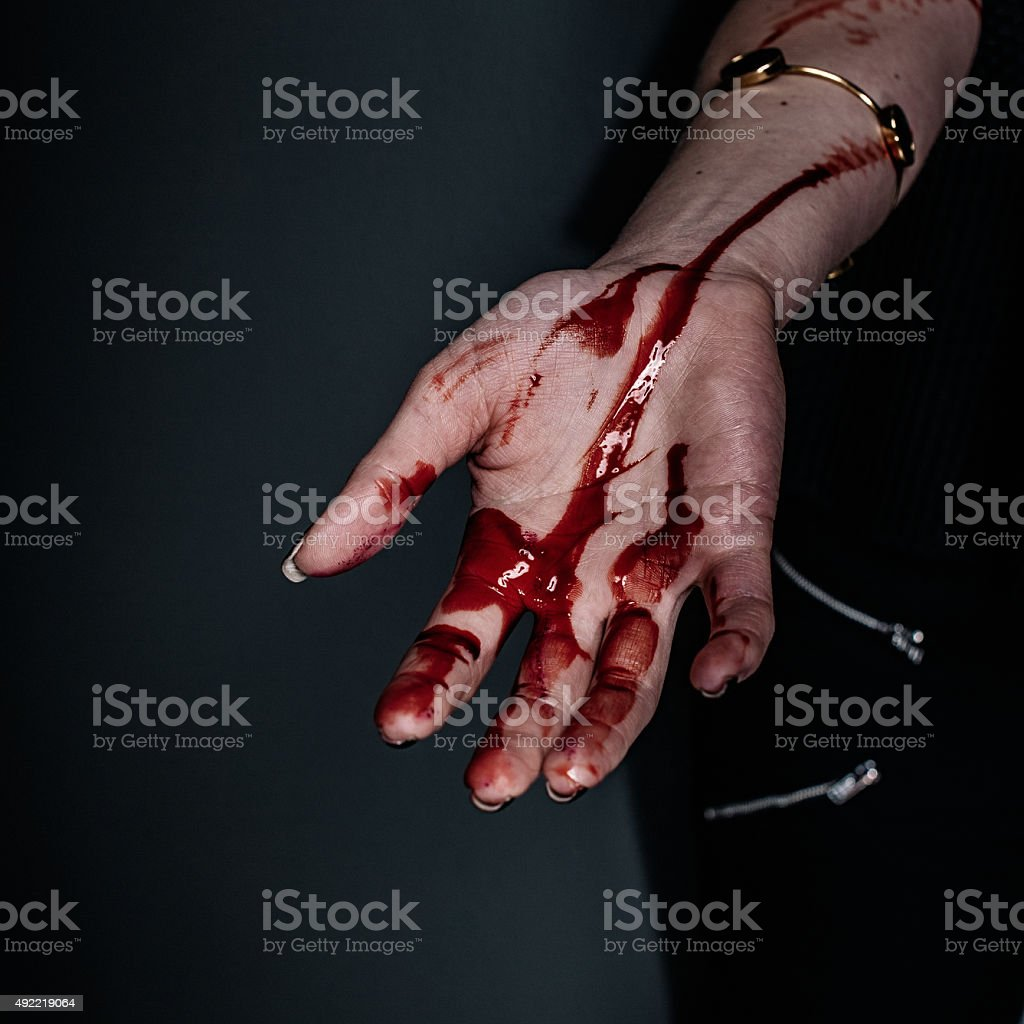 Bloody scary hand stock photo