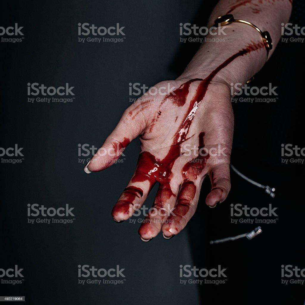 Bloody spaventoso mano - foto stock
