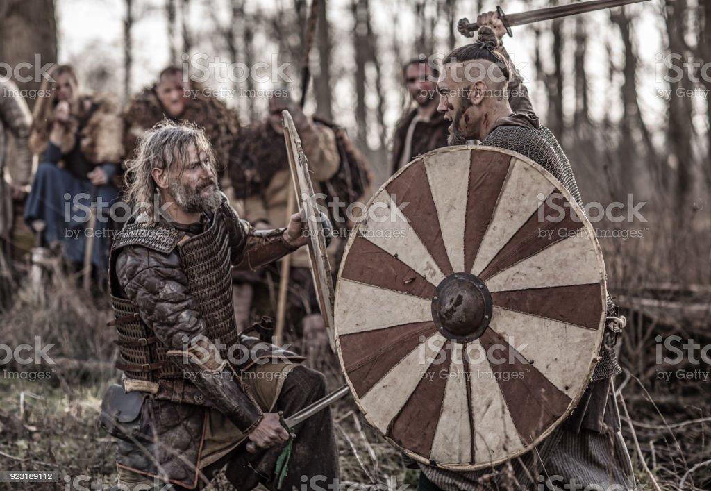 Bloody Viking Warriors On A Winter Battlefield Forest Stock